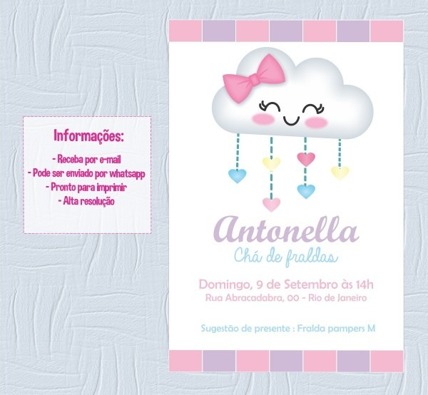 Convite personalizado chá de bebê chuva de amor
