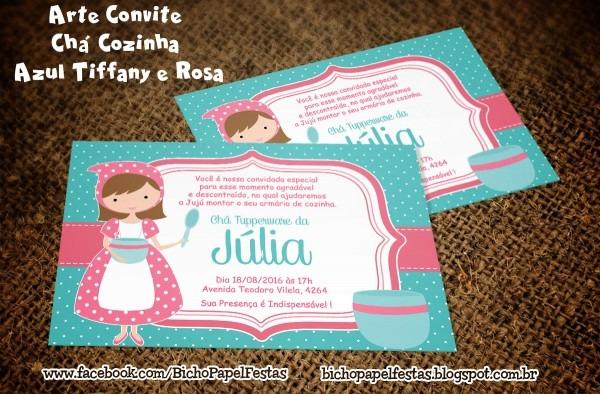 Bicho papel  arte convite chá cozinha azul tiffany e rosa