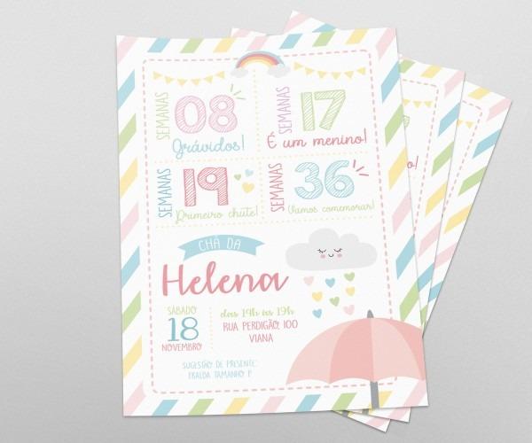 Convite chá de bebê chuva de amor no elo7