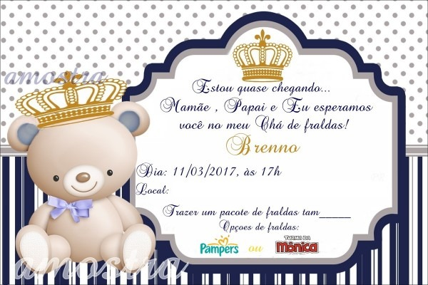 Convite cha de bebê urso coroa no elo7