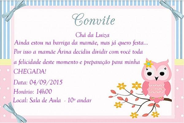 Convite chá de bebê corujinha no elo7