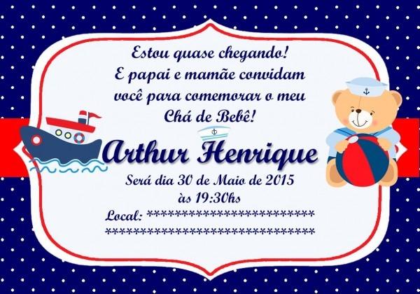 Convite digital chá bebê urso marinheiro no elo7