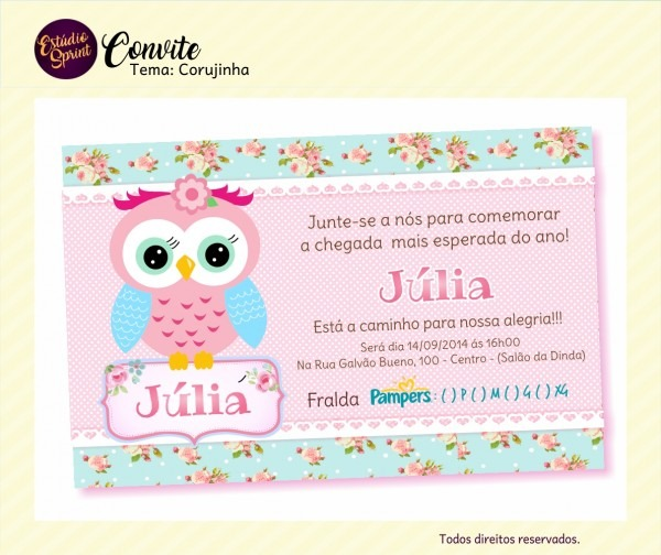 Convite chá de fralda corujinha no elo7