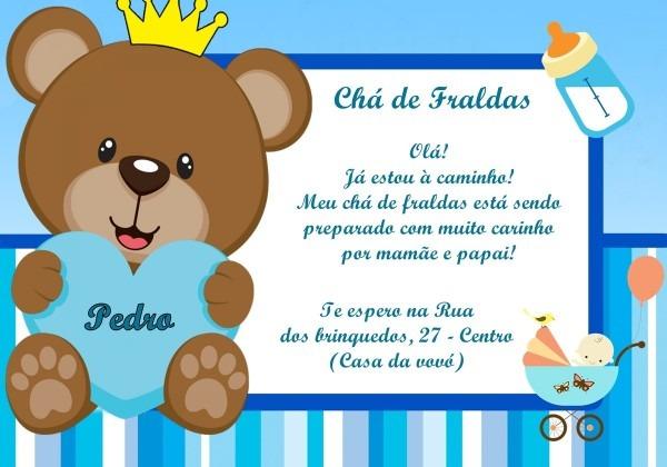 Convite chá de fralda ursinho príncipe frete grátis no elo7