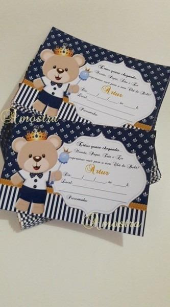 Convite para chá de bebê urso príncipe no elo7