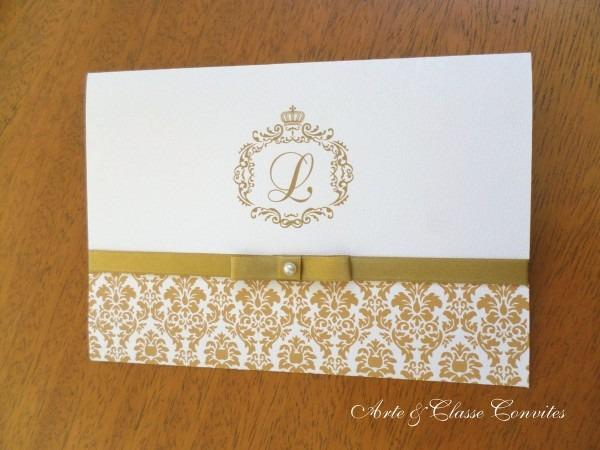 Convite clássico dourado e branco no elo7