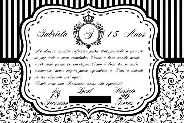 Convite de aniversário 15 anos preto e branco no elo7