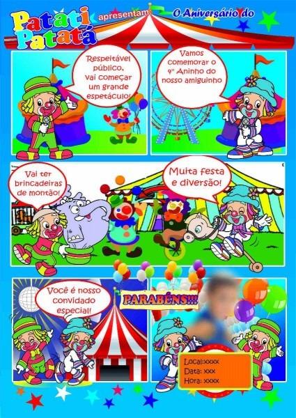 Convite de aniversário patati patatá em quadrinhos