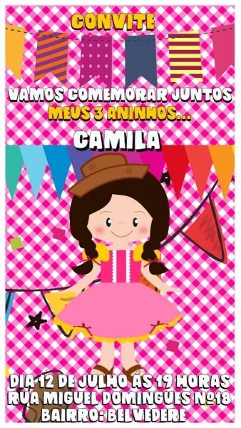 Convite de aniversário virtual animado festa junina menina