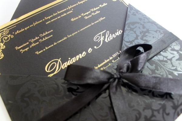 Convite de casamento   15 anos modelo avalom floral   preto