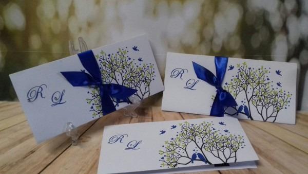 Convite de casamento árvore azul royal no elo7
