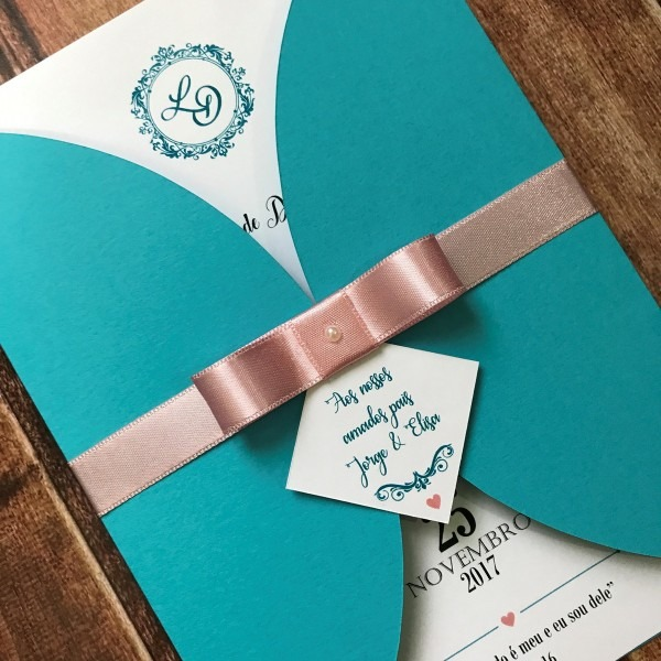 Convite de casamento azul tiffany e rosa r02 no elo7