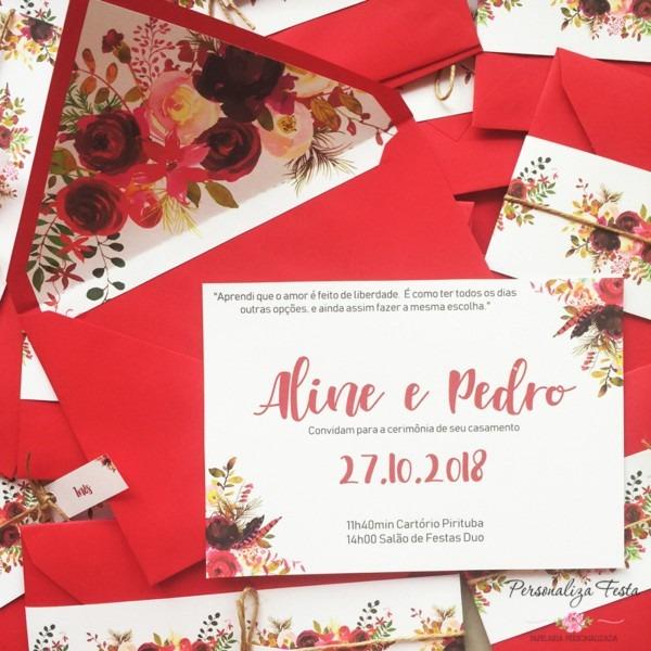 Convite de casamento com forro floral marsala no elo7