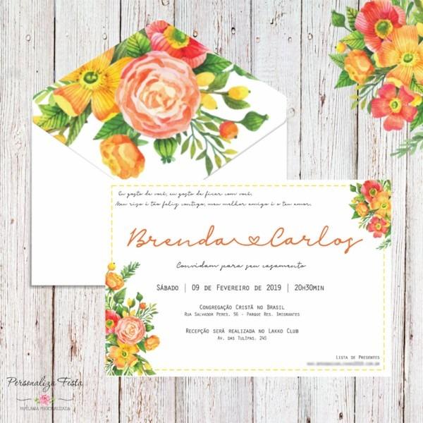 Convite de casamento com forro floral no elo7