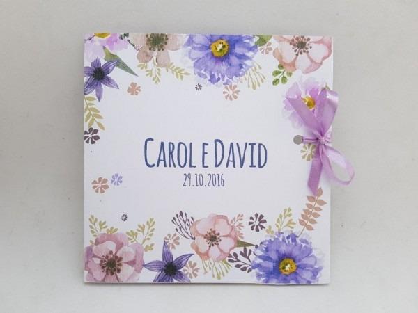 Convite de casamento floral lilás no elo7