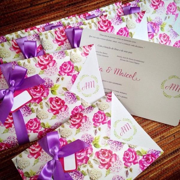 Convite de casamento flores rosa e lilas – ana convites