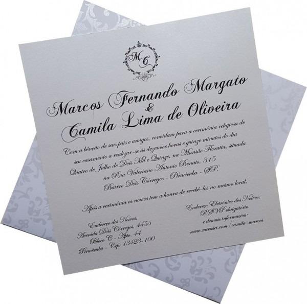 Convite de casamento gd com fita e floral 20x20 cm  25 und