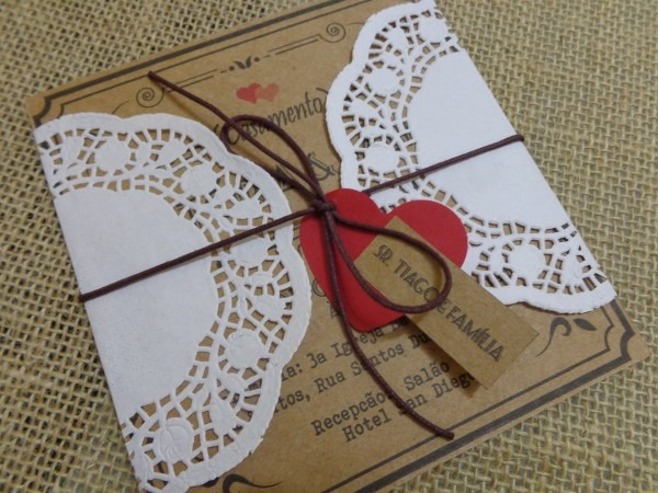 Convite de casamento kraft  papel renda no elo7