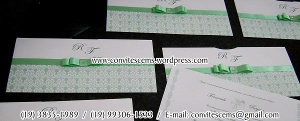 Convite de casamento nas cores branco verde com laço chanel na cor