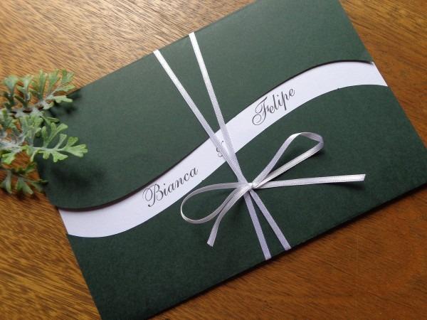 Convite de casamento verde escuro no elo7