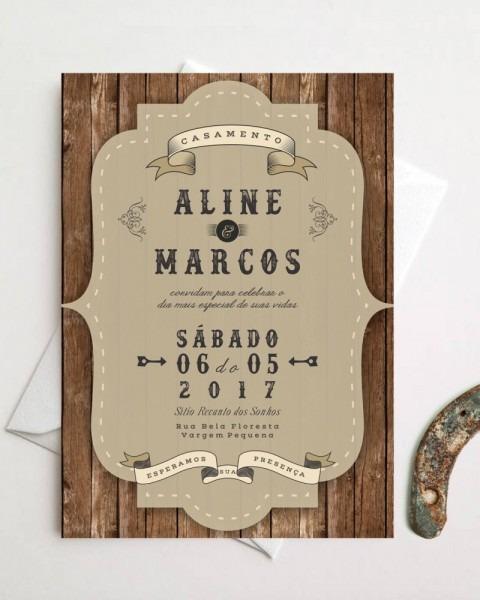 Convite de casamento country – papel e letra convites de casamento