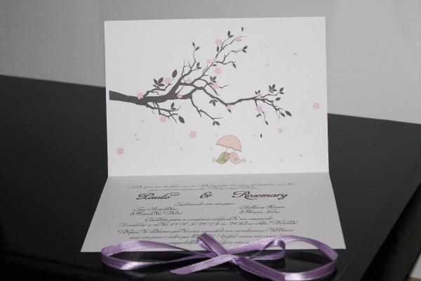 Convite de casamento pombinhos envio rápido 100 unidades