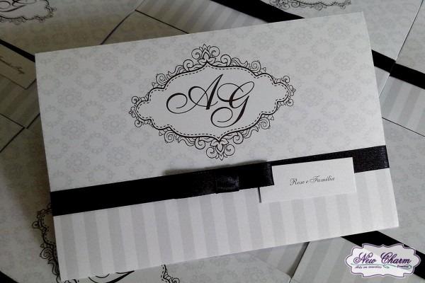Convite de casamento preto e branco no elo7