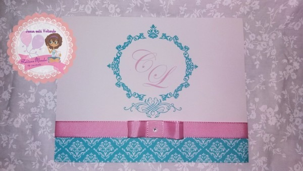 Convite de casamento rosa e azul tiffany no elo7
