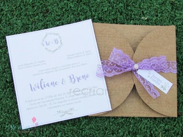 Convite de casamento lilás no elo7
