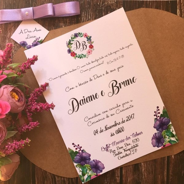 Convite de casamento rústico floral lilás (ou roxo)