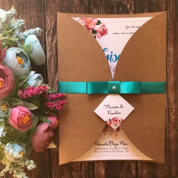 Convite de casamento rústico floral tiffany e rosa