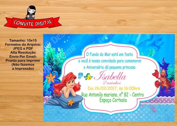 Convite digital a pequena sereia ariel no elo7