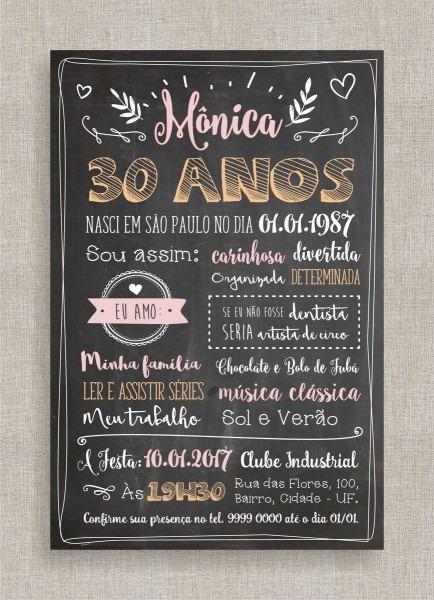 Convite digital aniversário 30 no elo7