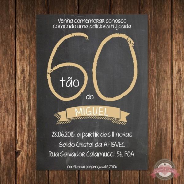 Convite digital aniversário lousa no elo7