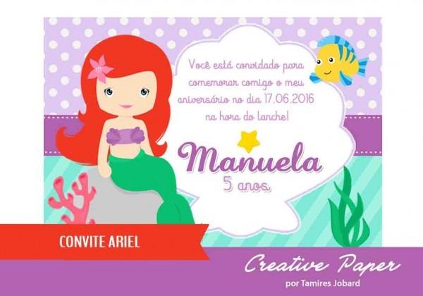 Convite digital ariel no elo7