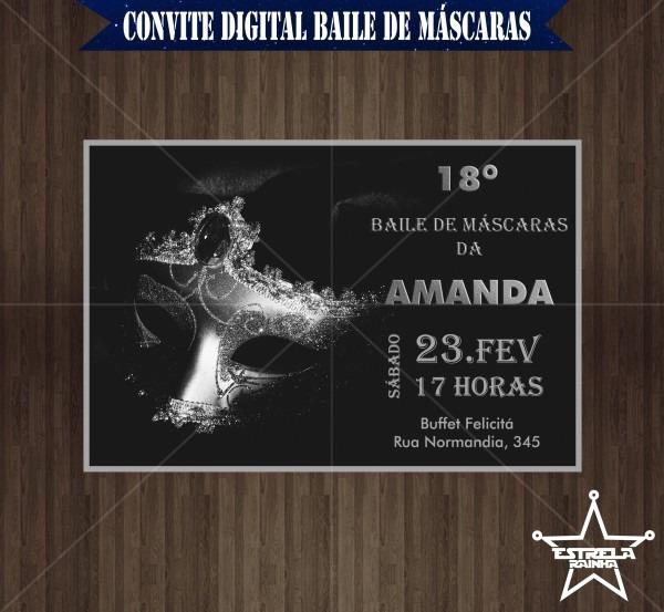 Convite virtual baile de mascaras