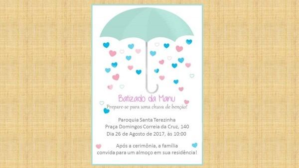 Convite digital batizado chuva de benção no elo7