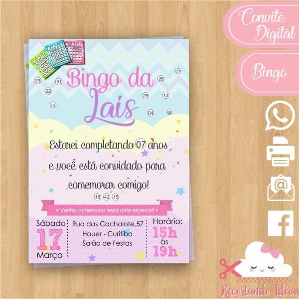 Convite digital bingo no elo7