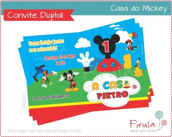 Convite digital casa do mickey no elo7