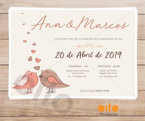 Convite digital casamento pombinhos rosé no elo7