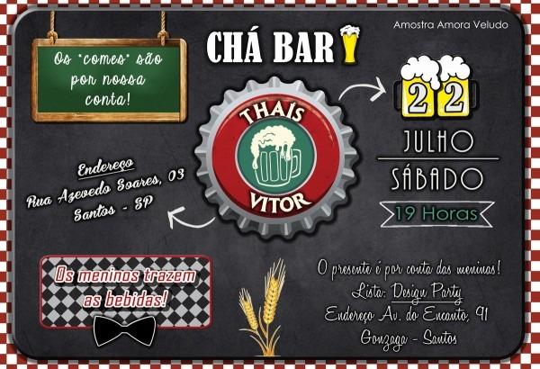Convite digital chá bar boteco no elo7
