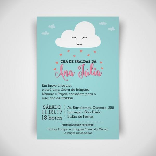 Convite digital chá de fraldas nuvem no elo7