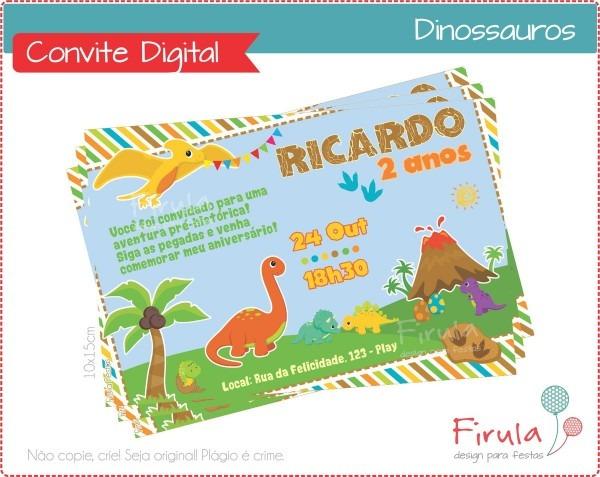 Convite digital dinossauros no elo7