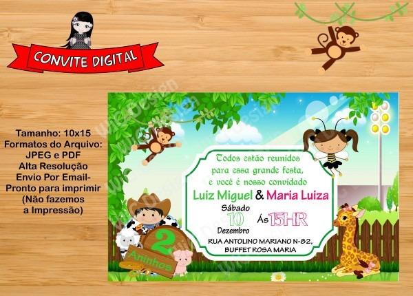 Convite digital fazendinha irmãos no elo7