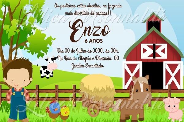 Arte de convite digital aniversário infantil fazendinha no elo7