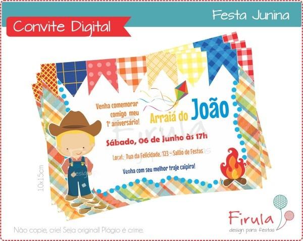 Convite digital festa junina menino no elo7
