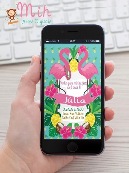 Convite digital flamingo