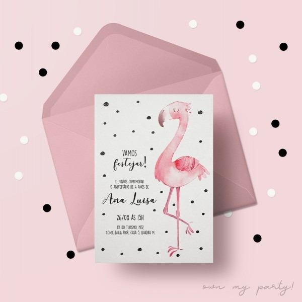 Convite digital flamingo (virtual + arte para imprimir) no elo7