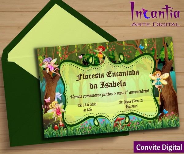 Convite digital floresta encantada no elo7