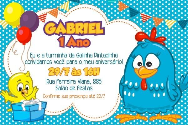 Convite digital galinha pintadinha no elo7